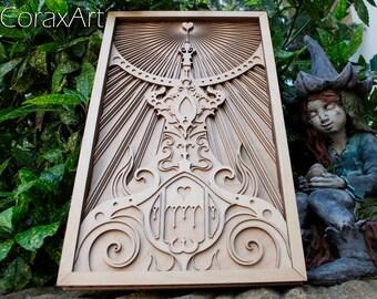 """Wood Wall Art """" Castle """",Wood,Modern Art,Home Decor,Girl Wall Decor,Multi layer Sculpture,Engraving Wood,Laser Artwork,Laser cut,Art Object"""
