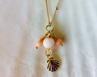 Tiny seashell charm necklace with angelskin corals