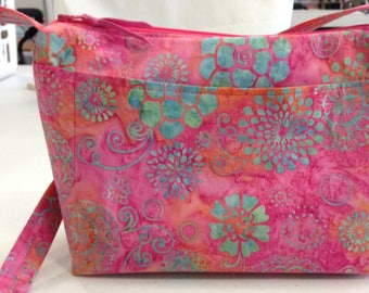 Handmade Pink Batik Purse, zipper closure