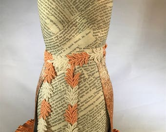 Altered Dress Form, altered art, paper dress mannequin