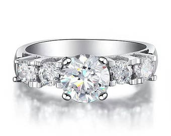SALE - 1.8 Ct.tw Round Cut 5-Stone Solid 925 Sterling Silver Engagement Ring - Sterling Silver Ring