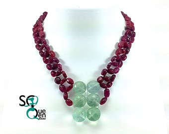 Natural gems - Ruby and fluorite necklace