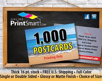 Postcard Printing, 1,000 Postcards, Full Color Printing, Matte or Glossy Postcards