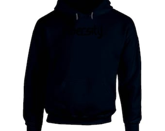 Hooded Pullover Navy- Black Logo