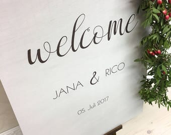 Wedding sign welcome white wooden wedding personalized plate