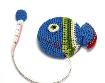 Cute Blue Fish Crochet Retractable Tape Measure, Unique Gift, Cute Animal