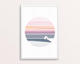 Sunset Surf // Ocean, Sea, Surf, Surfer, Surf Art, Surfboard, Wave, Wave Art, Print, Sunset, Landscape, Poster, Art, Wall Art, Home Decor.