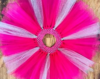 Bright pink and silver glitter tutu