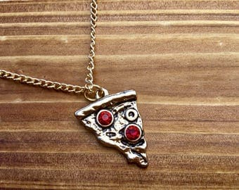 Golden Pizza Necklace