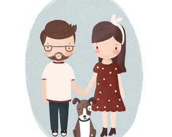 Custom Family Portrait/Family Portrait Custom/Family Portrait/Custom Portrait/Family Portrait illustration/Custom Couple Portrait/Hipster
