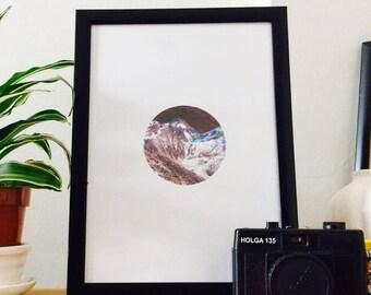 Dark and natural minimalist mountain print, modern art print, landscape poster A4