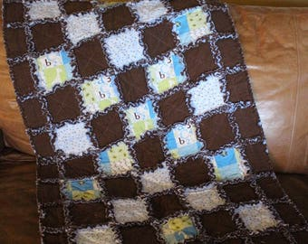 Adorable Baby Boy Rag Quilt (brown/blue)