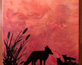 Fox Family Silhouette Painting