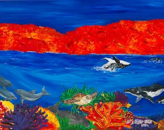 Kimberley rush hour. A high quality print of my acrylic canvas painting of the marine life in the Kimberley region in WA