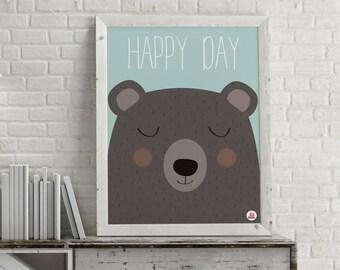 """Affiche déco enfant """"Happy day"""""""
