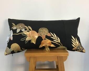 Japanese design,Kimono cushion,Oriental decor,black and gold kimono cushion,Vintage Pillow,Silver cushion,Leather cushion,Japanese cushion.