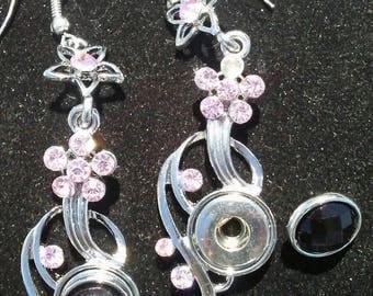 Dangle Earrings Snap Button Earrings Crystal Dangle Earrings FREE SHIPPING