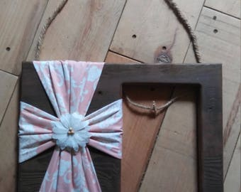 Rustic stained wood fabric cross