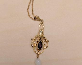 Vintage Art Nouveau Amethyst Pearl Lavalier Necklace 10k