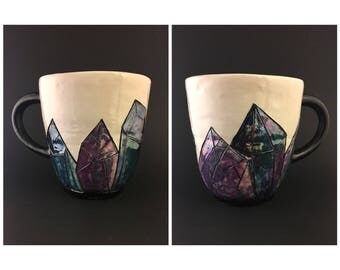 Blue & Purple Iridescent Crystal Mug