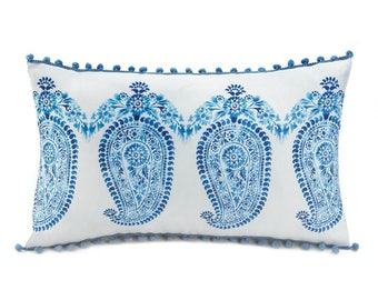 Blue Paisley Pillow