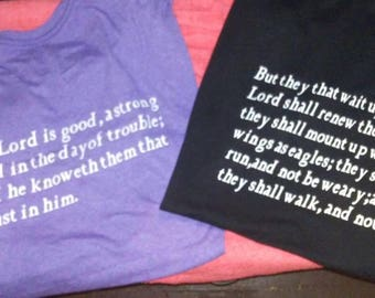 Tee shirts with any bible verse on them