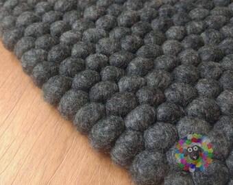 Felt Ball Rugs / Charcol Grey pom pom rug/ Pebble Rug (Free Shipping)