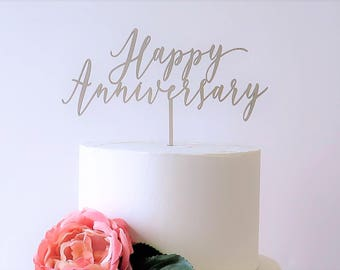 Cake Topper 'Happy Anniversary'//Love/Celebrations//Laser Cut