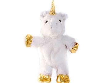 White Unicorn Gold horn and hooves 8 inch partpet