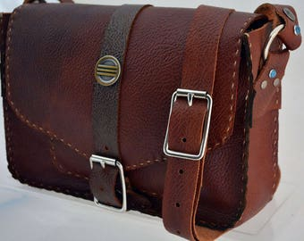 Brown Leather Crossbody Shoulder Bag