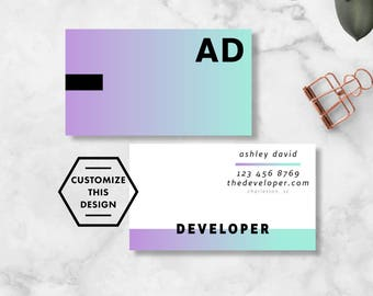 GRADIENT Custom Business Card Design / Business Card Template / Artistic Business Cards / Modern Business Cards
