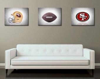 Discount Set Of 3 San Francisco 49ers Prints Boys Room Decor Kids Room Wall