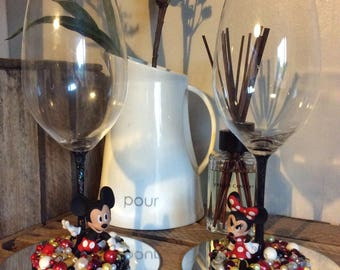 Mickey Mouse beaded wine glass