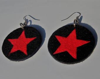 """FELT earrings """"RED STAR"""""""