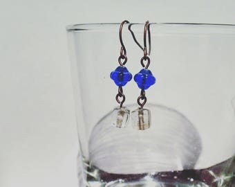 Blue and White Glass Earrings #015