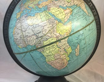 Vintage World Globe 9 inch,  Made in USA, 1933