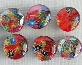 "6- 1"" Handmade Magnets, Refrigerator Magnets, Fridge Magnets, Decorative Magnets, Glass magnets, Unique Gift, Colorful Magnet,Packaged Set"