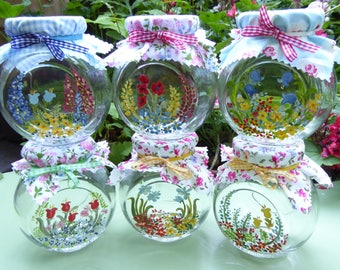Set of Six Large Hand-Painted Flower Pattern Jars