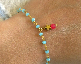 Gold-plated bracelet in chalcedony with star in tinted hematite and agathe.