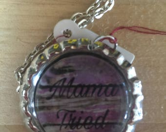 Silvertone bottlecap pendant with matching chain