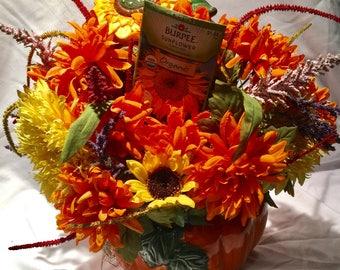 Pumpkin jar, beautiful, large flower arrangement