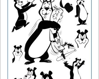 Hamm's Bear Art Prints Original Drawings #19503