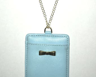 ID Badge with Bow on Gold Chain Necklace Lanyard