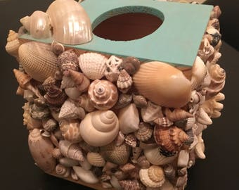 Rustic seashell mosaic tissue box holder