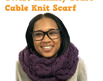 The Twist Infinity Twist Cable Knit Scarf (Purple)