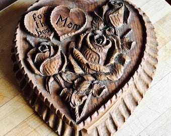 Vintage Carved Wooden Heart Box Gift Perfect For Mother's Day! Best Mom