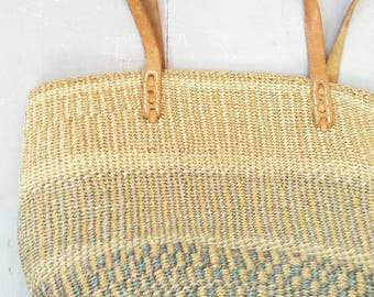 Natural Dyed Woven Market Bag with leather straps. Large Natural Market Shopping Bag. Large woven Beach Bag.