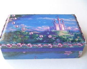 Fairy tale castle box,  bracelet box, ring storage, little girls gift, dresser decor, beaded bling