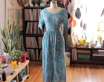 vintage Indian gauze babydoll maxi dress . mint green floral hippie dress, s m l . sheer cotton gauze India dress by Soma for Taraliya