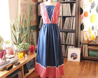 vintage 1960s 70s maxi dress . sleeveless chambray & red gingham picnic dress by Concept 70's Swirl . APPROX medium large womens